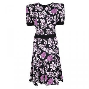 Emanuel Ungaro Black Floral Print Sheer Back Detail Short Sleeve Dress M