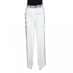 Emanuel Ungaro White And Black Floral Lace Trim Straight Fit Trousers L