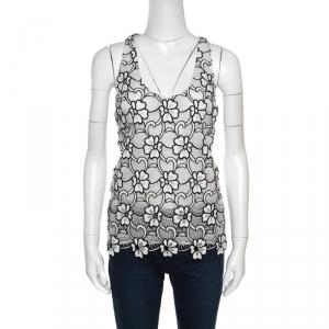 Emanuel Ungaro White and Black Semi Sheer Floral Lace Cotton Tank Top M