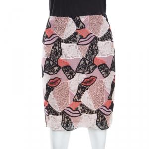 Emilio Pucci Multicolor Lips Macrame Patchwork Silk Lined Pencil Skirt S