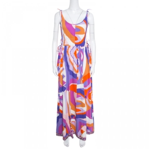 Emilio Pucci Multicolor Abstract Printed Cotton Tie Up Detail Sleeveless Maxi Dress L
