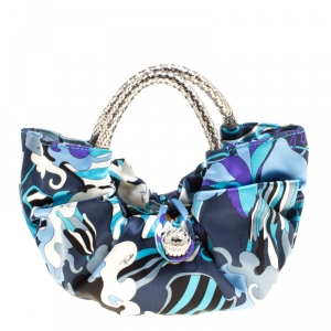 Emilio Pucci Blue Abstract Print Satin Evening Bag