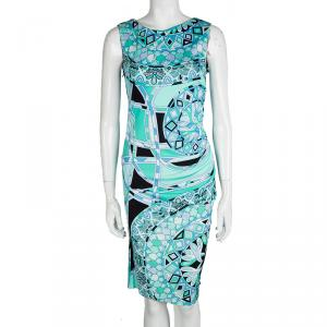 Emilio Pucci Multicolor Printed Sleeveless Draped Dress M