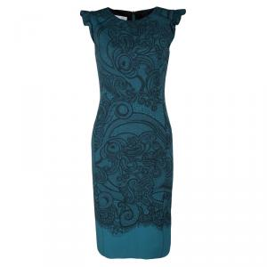 Emilio Pucci Blue Paisley and Net Print Ruffled Sleeve Wool Dress S