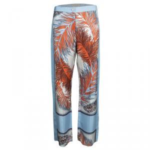 Emilio Pucci Blue Feather Printed Silk Wide Leg Pants M