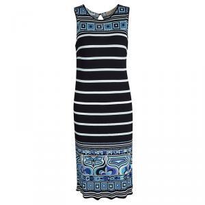 Emilio Pucci  Black Printed Striped Knit Sleeveless Dress M