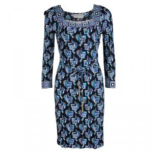 Emilio Pucci Multicolor Printed Belted Long Sleeve Dress M