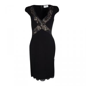 Emilio Pucci Black Scallop Lace Trim Detail Cap Sleeve Dress L used