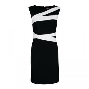 Emilio Pucci Monochrome Colorblock Sleeveless Wool Shift Dress M