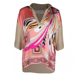 Emilio Pucci Multicolor Printed Silk and Wool Short Sleeve High Low Top S