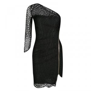 Emilio Pucci Black Lace One Shoulder Ruched Mini Dress S