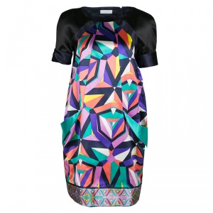 Emilio Pucci Geometric Printed Satin Pocket Detail Shift Dress S - used
