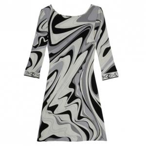 Emilio Pucci Monochrome Print Stretch Dress S