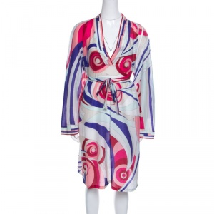 Emilio Pucci Multicolor Printed Cotton and Silk Voile Belted Tunic Dress M