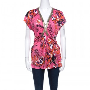 Emilio Pucci Multicolor Printed Knit Embellished Ruched Front Top L