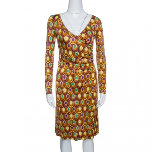 Emilio Pucci Multicolor Printed Silk Jersey Long Sleeve Dress S - used