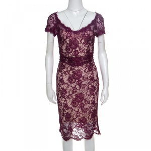Emilio Pucci Burgundy Floral Lace Scalloped Trim Ruched Dress S - used