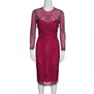 Emilio Pucci Burgundy Floral Lace Scalloped Trim Draped Dress M - used