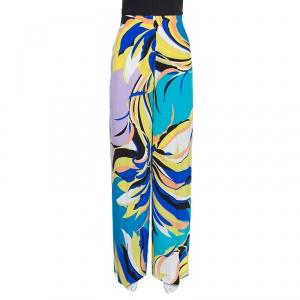 Emilio Pucci Multicolor Floral Printed Silk Wide Leg Pants M
