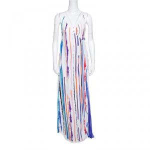 Emilio Pucci White Striped Pleated Tie Detail Maxi Dress S