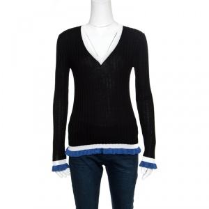 Emilio Pucci Black Ribbed Knit Contrast Ruffled Trim V-Neck Sweater M