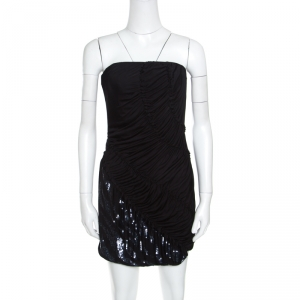 Emilio Pucci Black Sequin Embellished Ruched Strapless Dress M - used