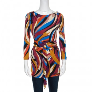 Emilio Pucci Multicolor Printed Knit Long Sleeve Belted Top M