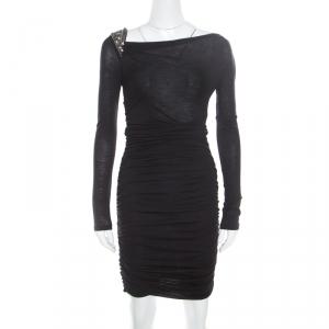 Emilio Pucci Black Knit Embellished Shoulder Detail Ruched Long Sleeve Dress S used