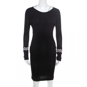 Emilio Pucci Black Knit Crystal Embellished Backless Sheath Dress S - used