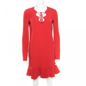 Emilio Pucci Red Tie-Up Detail Cady Flounce Dress S