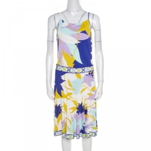 Emilio Pucci Multicolor Floral Printed Jersey Sleeveless Dress M