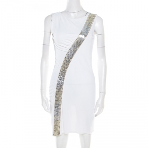 Emilio Pucci Off White Sequin Embellished Ruched Sleeveless Dress S - used
