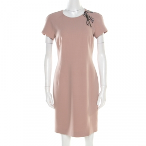 Emilio Pucci Blush Pink Wool Contrast Bodice Tie Detail Short Sleeve Dress M - used