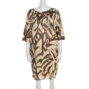 Emilio Pucci Brown and Beige Foil Printed Silk Long Sleeve Dress S - used