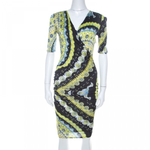 Emilio Pucci Multicolor Printed Stretch Jersey Plunge Neck Dress S - used