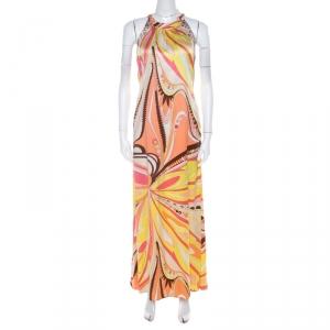 Emilio Pucci Firenze Multicolor Abstract Print Silk Maxi Halter Dress M