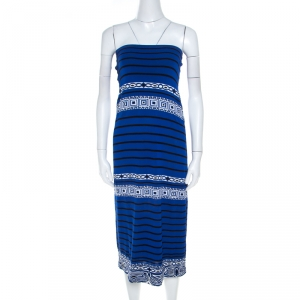 Emilio Pucci Blue Knit Aztec Pattern Strapless Dress S - used