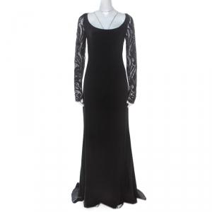 Emilio Pucci Black Silk Guipure Lace Detail Evening Dress M - used