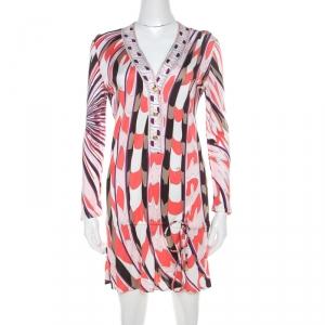 Emilio Pucci Multicolor Signature Print Jersey Knit Drawstring Short Dress M - used
