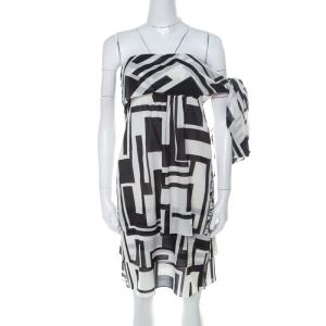 Emilio Pucci Monochrome Silk Chiffon Strapless Short Dress M - used