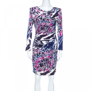 Emilio Pucci Multicolor Abstract Print Silk Jersey Ruched Detail Dress M - used
