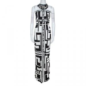 Emilio Pucci Monochrome Printed Silk Beaded Collar Dress M - used