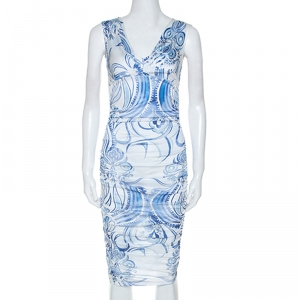 Emilio Pucci Blue and White Printed Ruched Sleeveless Dress S - used