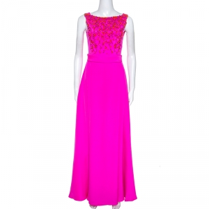 Emilio Pucci Bright Pink Silk Embellished Bodice Sleeveless Gown S used