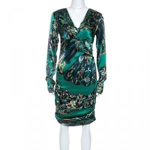 Emilio Pucci Green Printed Stretch Silk Ruched Detail Midi Dress M