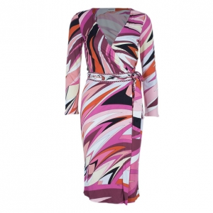 Emilio Pucci Pink Abstract Print Wrap Front Dress S
