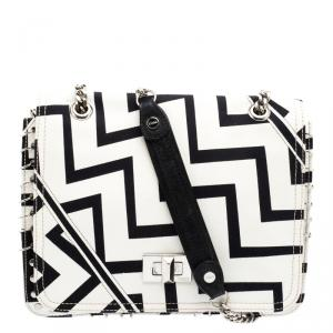 Emilio Pucci Black And White Canvas Marquise Flap Bag