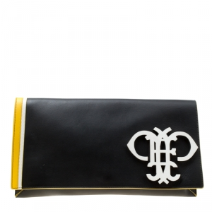 Emilio Pucci Black Leather Oversize Logo Clutch