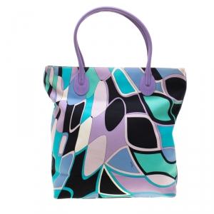 Emilio Pucci Multicolor Canvas and Leather Shopper Tote