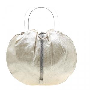 Emilio Pucci Metallic Light Beige Leather Top Handle Crossbody Bag